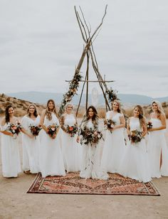 all white bridesmaids