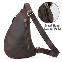 a6da5c36c649 Men's Real Leather Sling Backpack Chest Shoulder Bag Headphone Sports Cross  Body