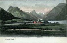 Sogn og Fjordane fylke Sogndal kommune Fjærland Mundal noe kolorert, mot nord Utg E.A.Schjörn brukt 1907