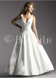 Simple V-Neck Taffeta A-Line Wedding Dress With Pleats
