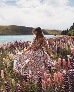 Dress. Boho. Pink. Flowers. Field