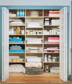 I would love to have a linen closet this big and organized!