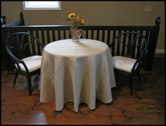 Great tutorial on making a burlap tablecloth like the one from Ballard...for my new dining room. Burlap material from Hobby Lobby on sale for $1.99 per yard!