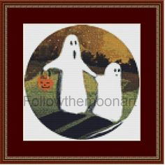 Spooky Halloween Ghosts with JackOLanern Pumpkin Stitchery Cross Stitch Pattern