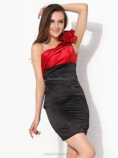 Sheath/Column One Shoulder Satin Short/Mini Flowers Party Dress