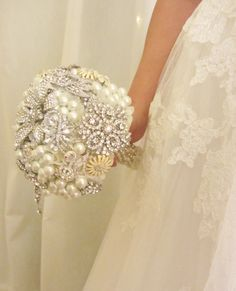 Brooch bouquet, Brooch and pearl bouquet, Alternative bridal bouquet,Custom bouquet - Deposit brooch bouquet. $175.00, via Etsy.