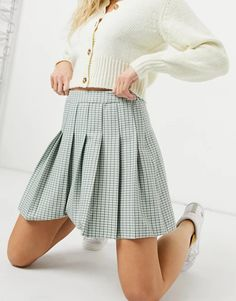 New Look mini pleated tennis skirt in pastel green check | ASOS Pleated Tennis Skirt, Midi Skirt, Saved Items, New Look, Fitness, Skirts, Pattern, Asos, How To Make