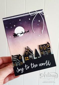 die cut houses in silhouette . Santa and reindeer in the purple sponged sky . Stampin' Up! Christmas Hearts, Christmas Card Crafts, Homemade Christmas Cards, Christmas Cards To Make, Xmas Cards, Homemade Cards, Handmade Christmas, Holiday Cards, Christmas 2019