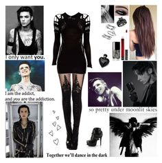 """""""❤ You're so hypnotizing, could you be the devil? Could you be an angel?  Your touch magnetizing feels like I am floating, leaves my body glowing. They say be afraid, you're not like the others. Futuristic lover, different DNA. They don't understand you ❤"""" by blueknight ❤ liked on Polyvore featuring Mark Fast, Kat Von D, Lipsy, Chanel, Judith Jack and Brinley Co"""