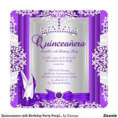 Quinceanera 15th Birthday Party Purple Heels Invitation