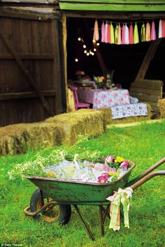 'Fill up a wheelbarrow with ice and scented flowers' #outdoorliving #gardentherapy