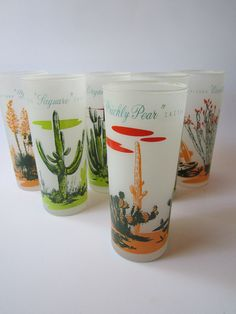 Vintage Blakely Arizona Cactus Glass Tumblers, 1950s.     Used these as a little girl and my mother finally gave me her set!!!  Happy, happy.