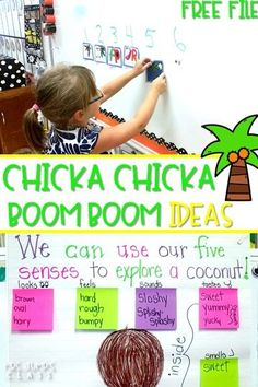 Chicka Chicka Boom Boom Activities with FREE FILE for Back to School. Kindergarten and first grade classroom ideas with a Chicka Chicka Boom Boom directed drawing, science, and writing!