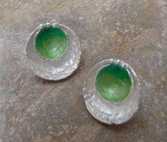 Handmade Green Bowl Earrings in Sterling Silver and enamels