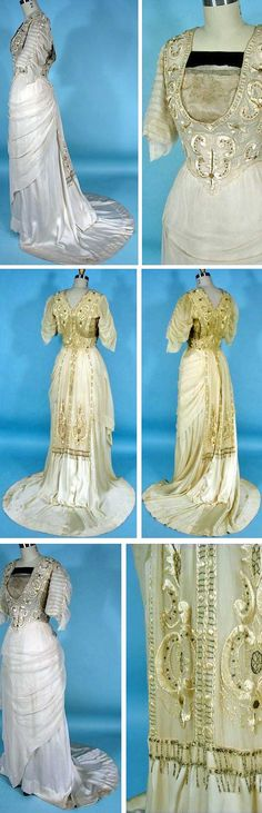 """Ecru silk gown, ca. 1912, with overlay of gauze chiffon on skirt and (pleated) on sleeves.  Gold lamé embroidered mesh on bodice surrounded by embroidery. Matching decorative buttons on sleeves and beaded fringe embroidered """"sash"""" down train. AntiqueDress.com"""