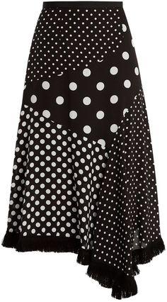 Andrew Gn Polka-dot print asymmetric silk skirt