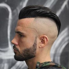High Bald Fade Slick Back Haircut Mens Hairstyles With Beard, Try On Hairstyles, Cool Hairstyles For Men, Undercut Hairstyles, Hair And Beard Styles, Haircuts For Men, Short Hair Styles, Undercut Styles, Men's Haircuts