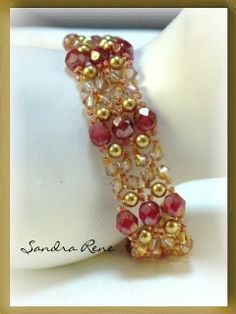 Beadwork Bracelet Beadwoven Gold and Ruby by PeridotFalcon  #inspiration