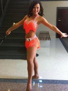 Majorette/twirler tryout uniform. University of Alabama Crimsonette tryouts 2013