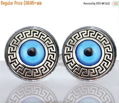 SALE  Round Glass Tile Cuff Links  Grecian Evil Eye by IMCreations