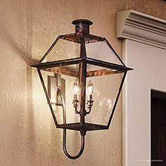 """Luxury Historic Outdoor Wall Light, Large Size: 29""""H x 13.5""""W, with Tudor Style Elements, Antique Gas Lantern Design, Rustic Copper Finish and Clear Glass, UQL1212 by Urban Ambiance"""