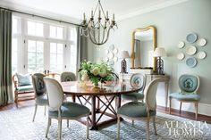 This pretty blue Atlanta dining room by Liz Williams features our Italian Chandelier.  www.niermannweeks.com #niermannweeks