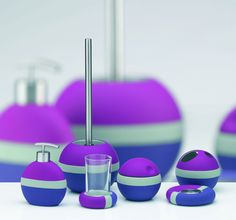 Very Cute Bathroom Accessories Set In Chic 3 Tones : Blue, Purple And Grey