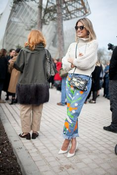 Fashion Week Street Style. Helena Bordon in paint splattered jeans at Paris Fashion Week Fall 2015 #PFW