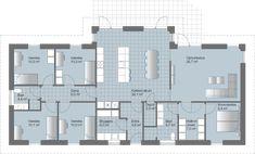 L Løsning med praktisk separat forældre-/børneafdeling Plans Architecture, House Drawing, House Goals, My Dream Home, Ideal Home, Exterior Design, Layout Design, Planer, Contents