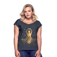 Geschenke Shop   Meditaion Yoga Pilates - Frauen T-Shirt mit gerollten Ärmeln Yoga Meditation, Yoga Pilates, Namaste, T Shirts For Women, Tops, Fashion, Great Gifts, Woman Shirt, Moda