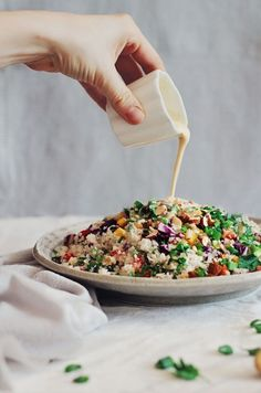 Thai Cauliflower Rice Salad with Peanut Butter Sauce ~ An exotic and colorful combination, which replaces the rice with the nutrient-loaded cauliflower. The secret of this dish is a delicious ginger-peanut butter sauce. Cauliflower Rice Salad, Califlower Rice, Loaded Cauliflower, Whole Food Recipes, Cooking Recipes, Peanut Butter Sauce, Vegetarian Recipes, Healthy Recipes, Healthy Food
