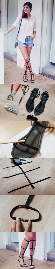Do It Yourself GLADIATOR SANDALS. I will use this for my Armor Celestia cosplay