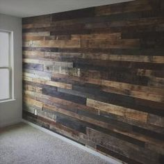 Really want to do as an accent wall in my kitchen to cover up the old style fake wood wall DIY Rustic Pallet Wood Wall Pallet Furniture DIY Palettes Murales, Diy Wood Wall, Palet Wood Wall, Diy Pallet Wall, Rustic Wood Walls, Decorative Wood Wall Panels, Reclaimed Wood Walls, Wood On Walls, Wooden Wall Bedroom