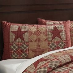 The Dawson Star Standard Sham fully embraces the lodge life. Hand quilted and bursting with timeless rustic colors, including khaki, burgundy, and woodland brown plaid in diagonal rows of alternating. Pillow Shams, Pillows, Rustic Colors, Rustic Decor, Rustic Bedding, Rustic Quilts, Lodge Style, Hand Quilting, Pillow Inserts