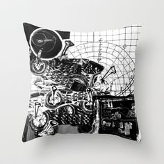 Chaos Throw Pillow by Kim Rose - $20.00 #pillow #graphicart #architect #decor #blackandwhite #chaos #circles #graphpaper #watch