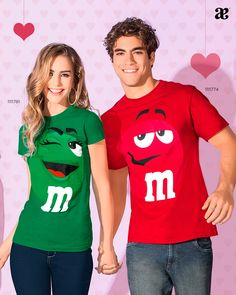 Couple T-shirt Red & Green