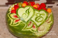 Wedding fruit carvings, Valentine's Day, Anniversary - My Texas Wedding Watermelon Wedding, Watermelon Bowl, Watermelon Carving, Deco Fruit, Fruit Creations, Food Sculpture, Fruit And Vegetable Carving, Food Carving, Fruit Decorations