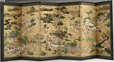 Kano Shunsetsu (Tosa) Nobuyuki Scenes in and Around Kyoto, 1700s Screen painting, ink, gold leaf, paper