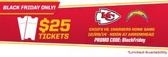 KC Chiefs $25 Ticket Black Friday Offer