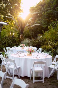 #Goldenhour #lighting on this #light, #white #crisp + #clean. #Simple, #beautiful + #elegant. ::Shwan + Dina's stunning botanic garden wedding in San Diego, California:: #whitetables #weddingreception #weddingreceptiondesign #weddingdecor #eventplanning