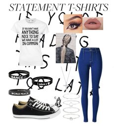 """Statement shirt"" by madison252 ❤ liked on Polyvore featuring Converse, Peace Love World, Accessorize and Tiffany & Co."