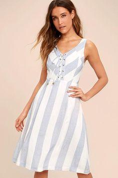#Lulus - #Lulus Martha's Vineyard Blue and White Striped Lace-Up Midi Dress - AdoreWe.com