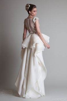 krikor jabotian fall 2013 couture cap sleeve dress overskirt back view