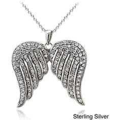 Icz Stonez Sterling Silver 1 3/8ct TGW Cubic Zirconia Angel Wings... ($31) ❤ liked on Polyvore featuring jewelry, necklaces, accessories, ketten, wings, white, sterling silver chain necklace, sterling silver cubic zirconia necklace, rolo chain necklace and angel wing pendant