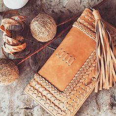 TALISMAN. Tan leather clutch / womens leather wallet / by BaliELF