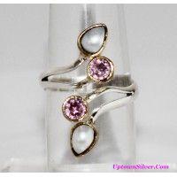 Artisan 2 Tone Genuine Pink Kunzite White Pearl Multi Gemstone ..