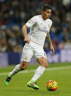 James Rodriguez of Real Madrid in action during the La Liga match between Real Madrid CF and Real CD Espanyol at Estadio Santiago Bernabeu on January...