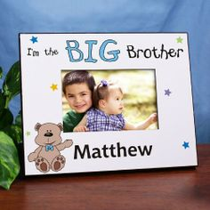 "Little/Middle/Big Brother Teddy Bear Personalized Printed Picture Frames. Our Personalized Teddy Bear Picture Frame makes a great keepsake for any little one getting a new baby brother. Each Personalized Big Brother Picture Frame measures 8"" x 10"" and holds a 3.5"" x 5"" or 4"" x 6"" photo. Easel back allows for desk display or ready for wall mount. Our Personalized Big Brother Picture Frame can be personalized with any name and please specify little, middle or big."