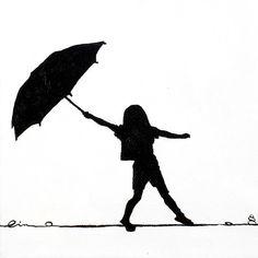Girl Holding Umbrella Silhouette | Little Girls On Little Canvas Painting - Little Girls On Little Canvas ...