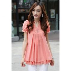 $8.89 Stand Collar Short Sleeves Lace Splicing Solid Color Sweet Style Chiffon Blouse For Women